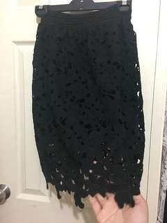 Size10-12 Black lace skirt