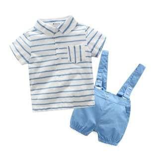 Fashion Baby Boys Clothes 2018 smart shirt + Jumpsuit set (Light Blue)