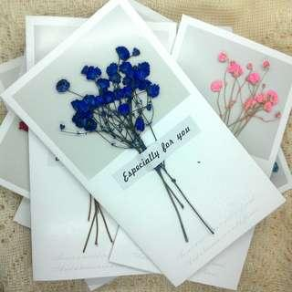 Baby's Breath Forget-Me-Not Dried Flower Card Invitation Card Greeting Card Birthday Card 满天星勿忘我干花卡片邀请卡问候卡生日卡