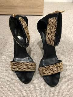 MISHA COLLECTION Black Suede/Gold Heels