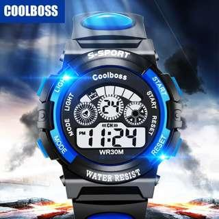 Ready Stock 2018 CoolBoss Men Sports Digital LED Watch Waterproof