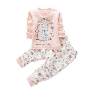 Elegant baby girl beautiful day 2pcs set clothes 2018 ( Rabbit Print)