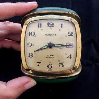 Vintage HOSEKI Travel Alarm Clock With Enamel Panelled Case