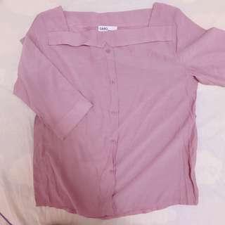 🚚 藕粉色 全新正韓 方領襯衫上衣 #十月女裝半價