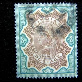1900年英屬印度(British India)英女皇維多利亞老年像3銀盧比(Silver Rupee)郵票(高面值)