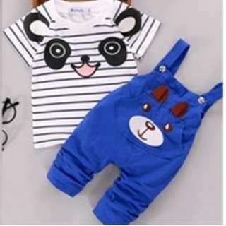 Fashion Baby Boys Clothes 2018 panda cartoon T-shirt + Jumpsuit set (Light Blue)