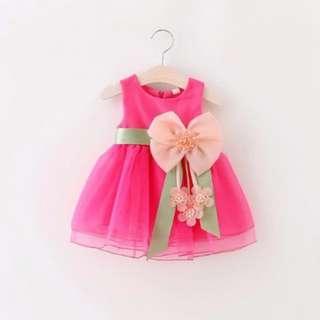 Baby girls sleeveless lace  princess dress (Pink)