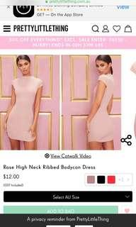Pretty little thing bodycon dress pink