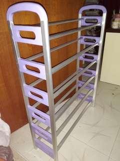 鞋架,六層,(九成新), 淺紫色 89cm x 65cm x 21.5cm
