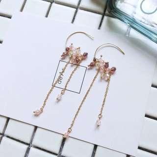 Korean Crystal Beads Drop Earrings