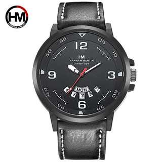 Hannah Martin Men's PU Leather Strap Quartz Analog Wrist Watch with Date Display