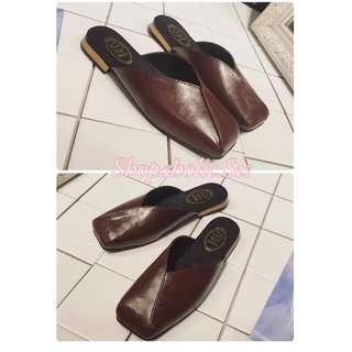 New Square Toe Flat Glove Mules Low Block Heels Chunky Heels Women's Shoes