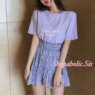 New Korean Style High Waist Floral Chiffon Mini Skirt / Flower Skater Skirts / A-Line Skirt / Short Skirt Women's Bottoms