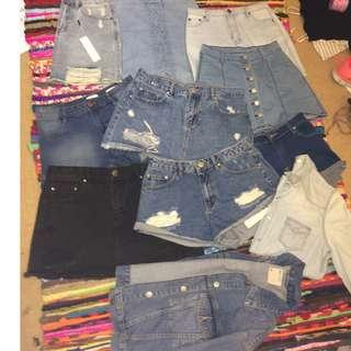 MASSIVE DENIM SUMMER SALE DENIM SHORTS SKIRTS & JACKETS SIZE 6,8,10/XS,S,M