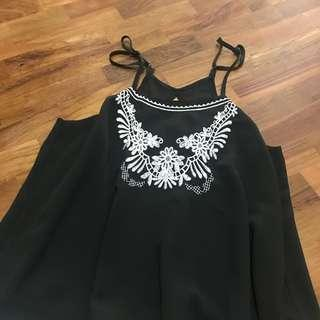 black floral embroidery cami spag top