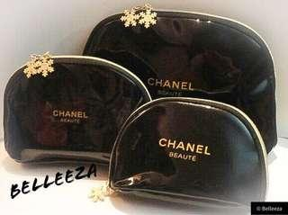 Set Of 3 Beautiful Chanel VIP Snowflake Charm Cosmetic Clutches