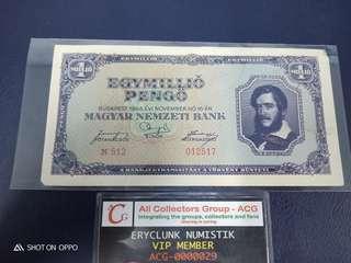 Duit Lama Hungray 1 Millio Pengo 1945