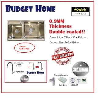 Italy brand 780mm DOUBLE COATED 304 stainless steel kitchen Sink   . KITCHEN SINK PACKAGE . double bowl kitchen sink /