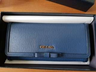 Prada Bow Long Wallet Blue Brand New Card Holder *Price Reduced*