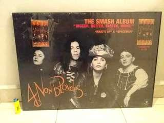 Framed poster 4 non blondes with audio cassettes