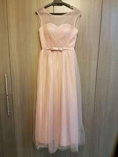 Pink Bridesmaids Dress / wedding dinner gown / dinner dress /prom dress