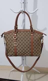 Tas Gucci Canvas Tote Bag Apricot Brown