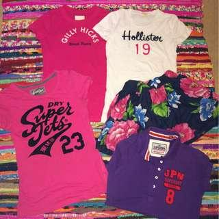 Hollister/Gilly Hicks/SuperDry Tops & Skirt! Size XS-S/6-8