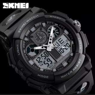 Ready Guys!!! SKMEI Watch Kuarsa Double Display Black