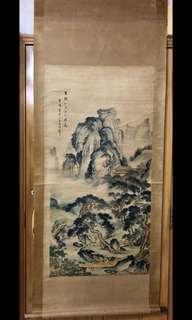 「山水人物圖」字畫
