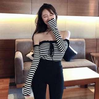 Black Stripe Off Shoulder Top