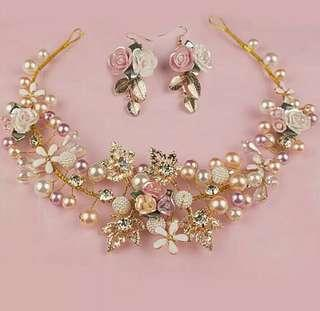 Bandana bunga set anting