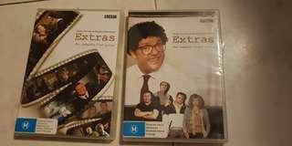 Extras starring Ricky Gervais and Stephen Merchant DVD set the conplete First and Second series
