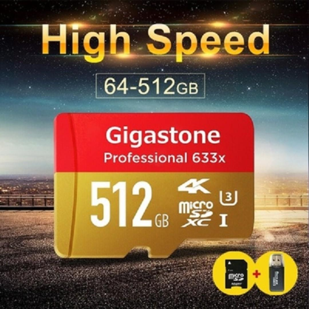 2018 New Gigastone GS Professional 512 GB Micro SD Card U3 4K Up TF Memory Card+ SD Card Reader + Adapter Reader...