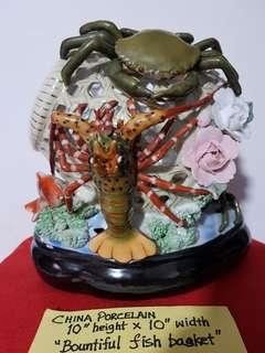 """CHINA PORCELAIN 10 INCHES HEIGHT  x  10 INCHES WIDTH.   """"BOUNTIFUL FISH BASKET""""."""