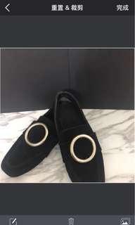 搬家出清 黑色百搭鐵扣鞋