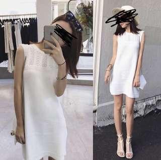 韓 白色連身裙 knit dress 針織
