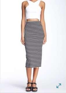 Black and White Striped Fitted Midi Skirt