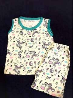 Unicorn terno sando shorts set for 2 to 4 yrs old
