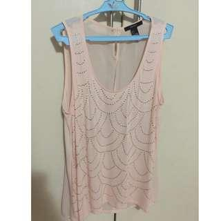 F21 Gold Pattern Sleeveless Top (Pink)