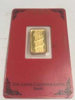 Snake Gold Bar, PAMP Sussie, 5g Pure Gold 999.9