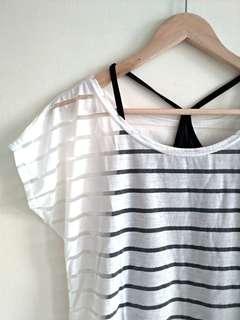 🚚 透明白條紋紗網上衣