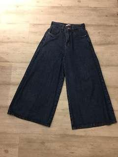 🚚 正韓純棉牛仔寬褲,9成新,鬆緊腰圍27吋以下皆可駕馭,原價1800