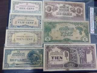 Duit Lama Jepun Netherland East Indies (Indonesia) Set Lengkap x 7pcs