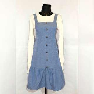 Korean Denim Dress - Blue