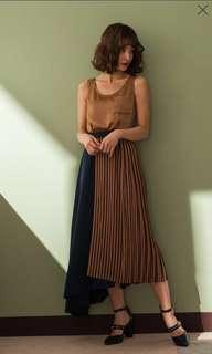 🚚 MARJORIE不對稱異材質拼接設計長裙