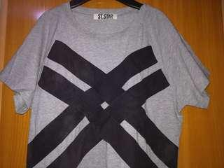 Gray Top with black detail in front