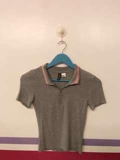 H&M Grey Top with zipper