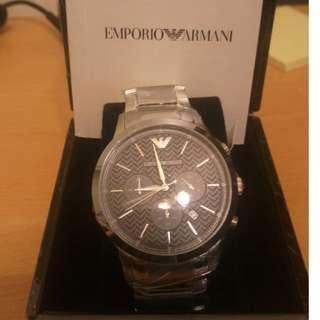 【ARMANI】 都會新貴計時腕錶-黑x銀/43mm(AR2486) 保證正品 不正包退