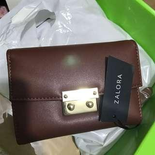 🚚 ZALORA Push Lock Short Wallet (Tan/Brown Colour)