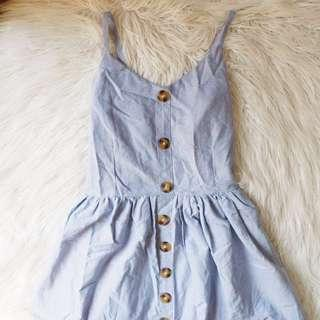 Button Dress - Blue